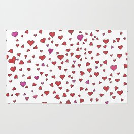 Little Hearts - Red & Pink Rug
