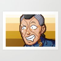 jjba Art Prints featuring JJBA - Okuyasu Nijimura Pixel Art by Chooone