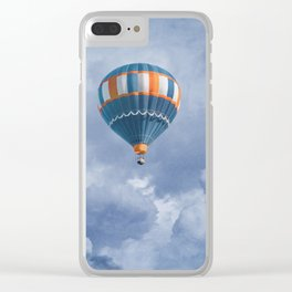 Navy Blue and Orange Hot Air Balloon Clear iPhone Case