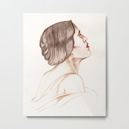 Female Profile Sketch Metal Print
