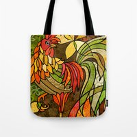 rooster Tote Bags featuring Rooster by Cat Thurman