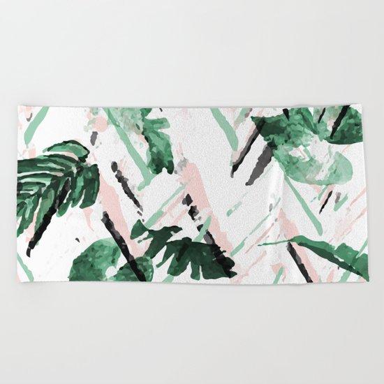 Tropical paint texture Beach Towel