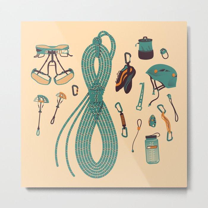 Climbing gear square Metal Print