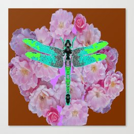 EMERALD DRAGONFLY PINK ROSES COFFEE BROWN Canvas Print