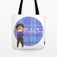 nightwing Tote Bags featuring Chibi Nightwing by psych0tastic