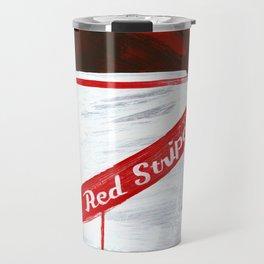 """Red Stripe (2011), 17"""" x 27"""", acrylic on gesso on chipboard Travel Mug"""