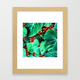Bright Tropical Jungle Print With Caterpillars Framed Art Print