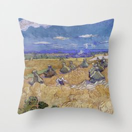 Vincent van Gogh - Wheat Fields with Reaper, Auvers Throw Pillow