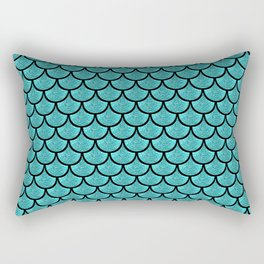 Turquoise  mermaid scale with  glitter effect Rectangular Pillow