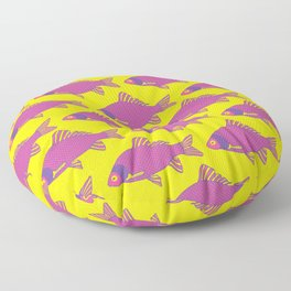 Purple and Pink Tropical Fish Shoal Pattern Floor Pillow
