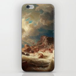 Marcus Larson - Stormy Sea With Ship Wreck iPhone Skin