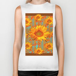 Coffee Brown Sunflower Pattern Orange & Turquoise Biker Tank
