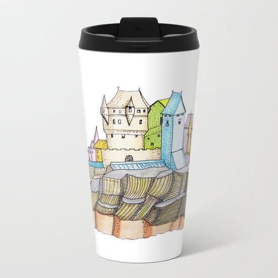 fairytale castle on a cliff Metal Travel Mug