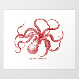 Octopus Red Art Print
