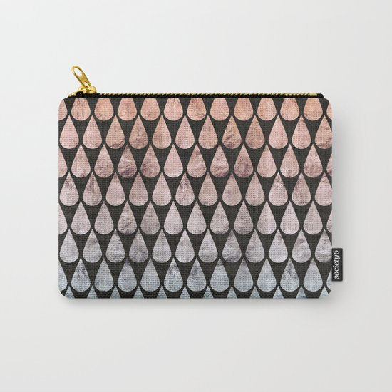 Iridescent raindrops rainbow black gradient Carry-All Pouch
