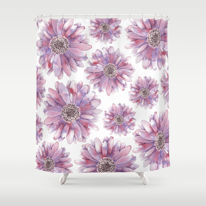 Watercolor Gerber Daisy Shower Curtain By Amberlenaengle