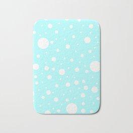 Mixed Polka Dots - White on Celeste Cyan Bath Mat