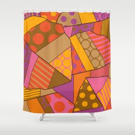 Graphic Leaf Patchwork (Fall Bold Colors) Shower Curtain