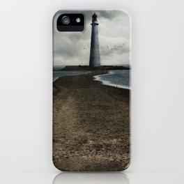 Cloudy seascape with an older lighthouse iPhone Case