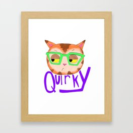 Quirky Cat in Glasses Framed Art Print