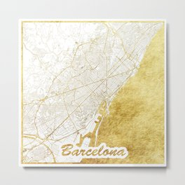 Barcelona Map Gold Metal Print