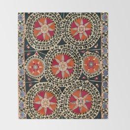 Katti Kurgan Suzani Uzbekistan Embroidery Print Throw Blanket