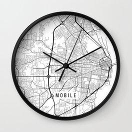 Mobile Map, Alabama USA - Black & White Portrait Wall Clock