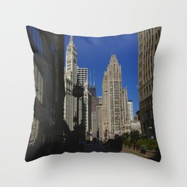 Michigan Avenue Sunshine and Shadows (Chicago Architecture Collection) Throw Pillow