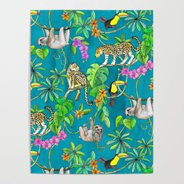 Rainforest Friends - watercolor animals on textured teal Poster