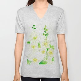 White Hollyhocks Unisex V-Neck