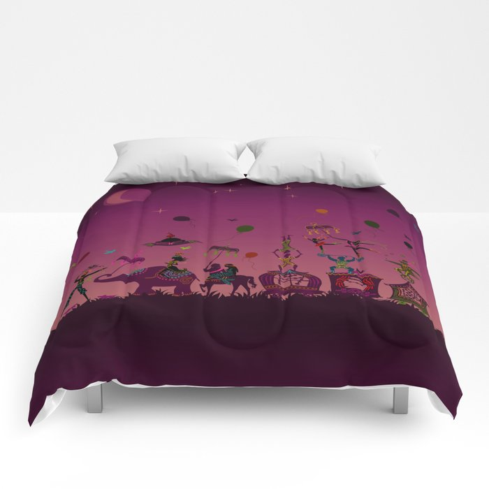 colorful circus carnival traveling in one row at night Comforters