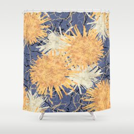 Abstract Orange Flowers Pattern Shower Curtain