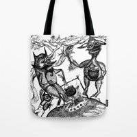 wild things Tote Bags featuring Wild Things by intermittentdreamscapes