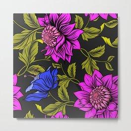 Purple Blue Flowers Garden Metal Print