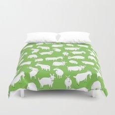 Green Goats Duvet Cover