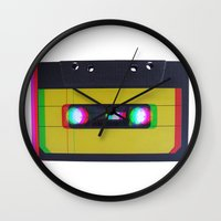 cassette Wall Clocks featuring Cassette by Michal