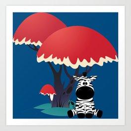 Cute Zebra Sitting Under an Umbrella Tree Art Print