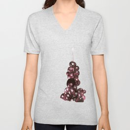 grape face surrealist painting by cecilia lee Unisex V-Neck