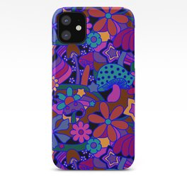 70's Psychedelic Garden in Cool Jeweltone iPhone Case
