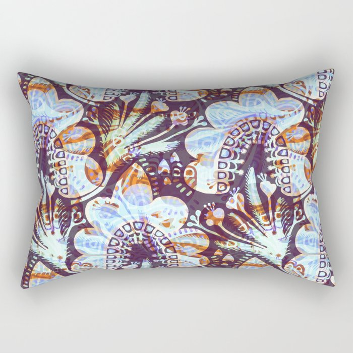 Arabesque Plant Jungle in Lavender, Orange and Purple Ethnic Pattern Illustration Rectangular Pillow