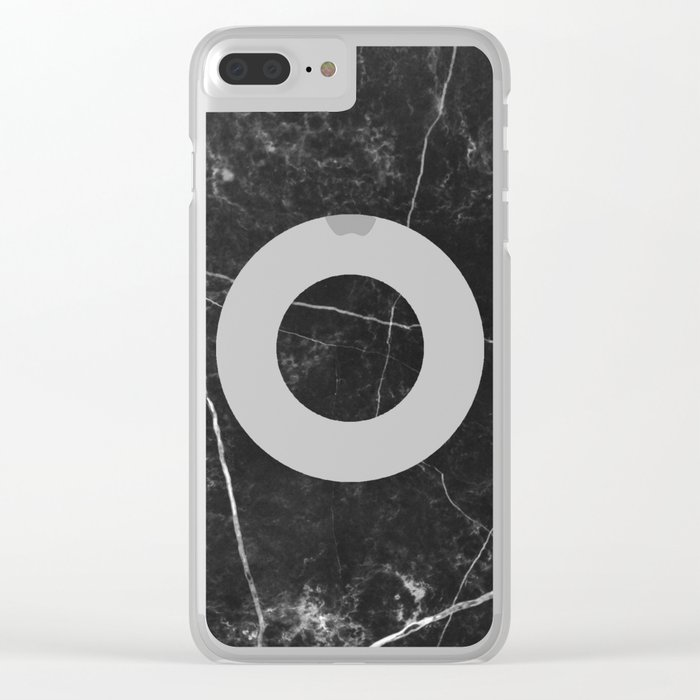Black Marble with Pink Circle Clear iPhone Case