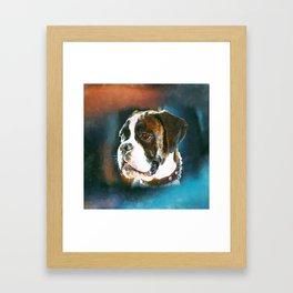 Boxer Dog Portrait  Watercolor Digital Art Framed Art Print