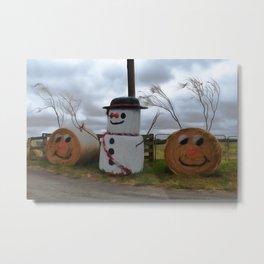 A Farmyard Christmas Metal Print