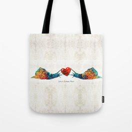 Snail Art - Love Grows Here - By Sharon Cummings Tote Bag