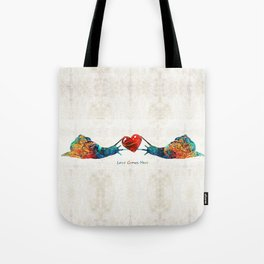 Snail Art - Love Grows Here - By Sharon Cummings Tote Bag