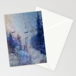 Chairlift into the Universe // Milky Way Galaxy Snowboarding Snow Nebula Stars Mixed Media Popart Stationery Cards
