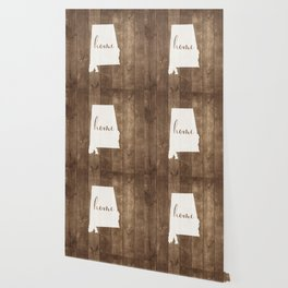 Alabama is Home - White on Wood Wallpaper