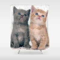 kittens Shower Curtains featuring Geometric Kittens by lauramaahs