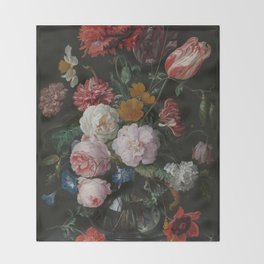 Still life with flowers in a glass vase, Jan Davidsz. de Heem, 1650 - 1683 Throw Blanket