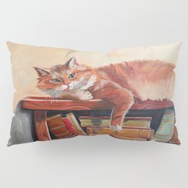Red cat on a bookshelf Pillow Sham